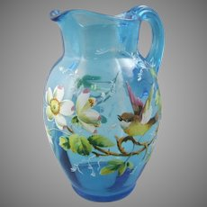 Victorian Enameled Glass Pitcher with Song Bird
