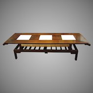 Mid-Century Metamorphic table with Carved Stone Panels