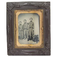 Antique Victorian Tintype of 3 Brothers and Family Dog