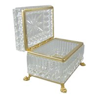 Molded Crystal Glass Hinged Casket Dresser Box with Paw Feet