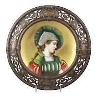 Antique Berlin Porcelain Portrait Plate in Bronze Frame