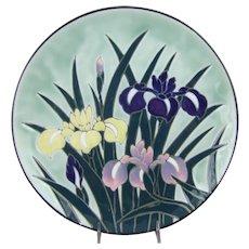Japanese Arita Ware Ceramic Porcelain Wall Charger Iris