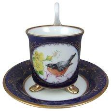 Pirkenhammer Porcelain Demitasse Mocha Latte Expresso Swan Handle Cup & Saucer
