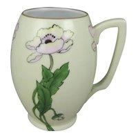 Hand Painted Porcelain Tankard Mug with Jugendstil Art Nouveau Poppy Flowers