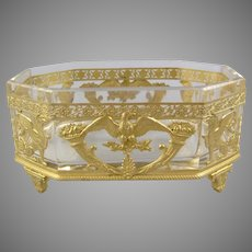Antique Federal Dore Bronze and Crystal Jardiniere