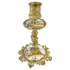 Antique Viennese Enamel & Bronze Candlestick