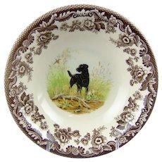 Spode Woodland Hunting Dogs Black Labrador Soup Cereal Bowl