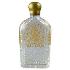Antique Cut & Engraved Glass Flask Bottle