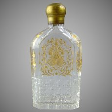 Antique Cut & Engraved Glass Flask Bottle