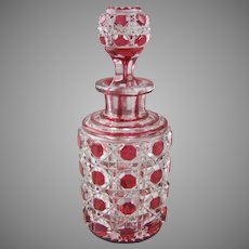 Dorflinger Hob and Lace American Brilliant Cut Cranberry Cut to Clear   Perfume Scent Bottle