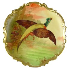 Coronet Limoges Game Bird Plate Pheasant Artist Signed
