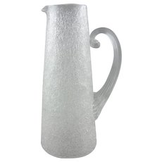 Overshot Crackle Glass Tankard Pitcher Reed Handle