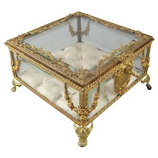 French Bronze and Beveled Glass Jewelry Box Casket