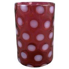Cranberry Opalescent Coin Spot Coin Dot Vase or Spooner