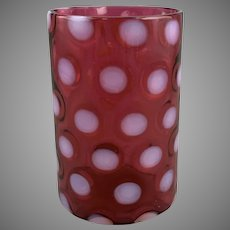 Cranberry Opalescent Coin Spot Coin Dot Vase or Spooner