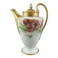 Furstenberg Porcelain Empire Chocolate Pot Hand Painted Poppy Flowers
