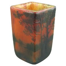 Daum Nancy France Acid and Wheel Carved Art Deco Cameo Glass Vase