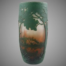 Daum Nancy French Cameo Glass Scenic Tumbler