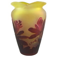 Galle French Cameo Glass Vase Rhododendron Décor