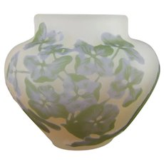 Galle French Cameo Glass Miniature Vase Hydrangeas Hortensias