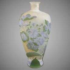 Galle French Cameo Glass Vase Hydrangeas Hortensias