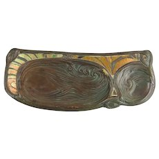Tiffany Studios C1905 Patinated Bronze and Favrile Glass Mosaic Wave Pattern Pen Tray