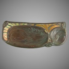 Tiffany Studios C1905 Patinated Bronze and Favrile Glass Mosaic Swirl Pattern Pen Tray