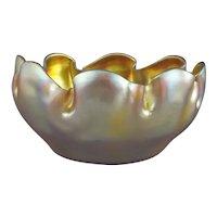 Tiffany Favrile Glass Gold Iridescent Bowl