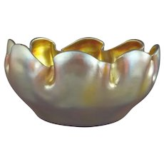 Tiffany Favrile Glass Gold Iridescent Bowl