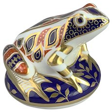 Royal Crown Derby Porcelain Imari Frog Paperweight Gold Stopper