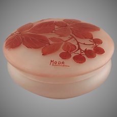 Moda Daum Art Deco French Cameo Glass Dresser Box