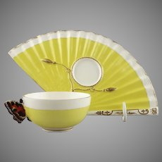 C1872  John Mortlock for Samuel Moore Porcelain Butterfly Handle Cup and Fan Biscuit Tray Saucer