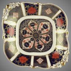 Royal Crown Derby Porcelain Old Imari 1128 Footed Acorn Handled Dish Tray