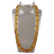 Applejuice Prystal Bakelite Catalin Graduated Rectangular Bead Necklace