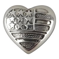 925 Sterling Silver Repousse American Flag Puffy Heart Brooch