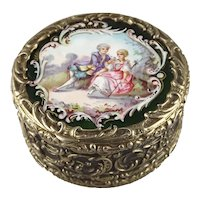 Antique Enamel and Repousse Sterling Silver Snuff Box Vanity Box