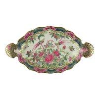 Famille Rose Lozenge Form Porcelain Dish with Bird of Paradise