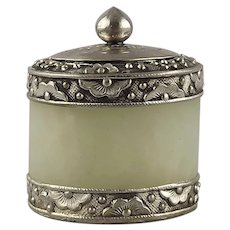 Chinese Light Green Jade Archer's Ring Silver Mounted as a Condiment Jar
