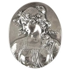 Henryk Winograd 999 Pure Silver Repousse Paperweight Art Nouveau Maiden