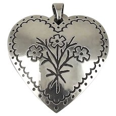James Avery Sterling Silver Embroidery Flowers Heart Pendant