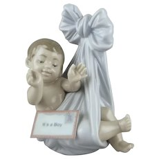 "Lladro Porcelain ""It's a Boy""  Retired Figure of an Infant Boy 1998"