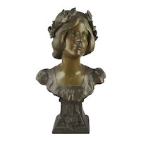 Art Nouveau Patinated Metal Bust Enid of Alfred Lord Tennyson Poem Idylls of the King