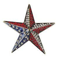 Heidi Daus Patriotic Star Sparkle Crystal and Enamel Pin Brooch