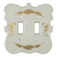 Vintage Painted Porcelain Double Light Switch Cover Plate