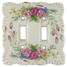Hand Painted Porcelain Double Light Switch Cover Plate