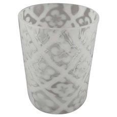 Beaumont Opalescent Glass Tumbler Daisy Criss Cross Pattern