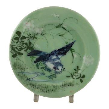 Porcelain Celadon Glaze Plate with Bluebird