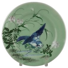 Porcelain Celadon Glaze Plate with Bluebird