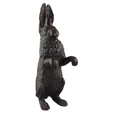 Patinated Bronze Figure of a Standing Rabbit