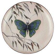Serge Nekrassoff Enamel on Copper Plate Butterfly in the Willows